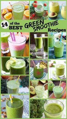 14 of the BEST Green Smoothie recipes!  A variety of recipes are included (using spinach and/or kale for greens, and a lot of different fruit and protein additions) #breakfast #greensmoothies