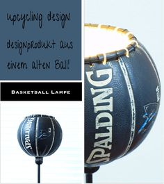 upcycle old basketball into lampshade
