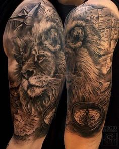 Animal Tattoo Designs are very common among people. Lion Head Tattoos, Leo Tattoos, Animal Tattoos, Body Art Tattoos, Tattoos For Guys, Tatoos, Kurt Tattoo, Tattoo Life, Lion Tattoo Sleeves