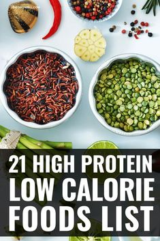 21 High Protein Low Calorie Foods for Weight loss - - The list provided here offers a good start to maintaining a healthy and balanced diet which is rich in protein and low in calories. Protein Dinner, High Protein Snacks, High Protein Low Carb, High Protein Recipes, High Protein Foods List, Low Calorie Foods List, Low Calorie Vegan, Low Calorie Recipes, Foods With No Calories
