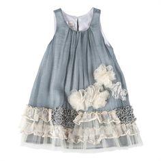 Isobella & Chloe Girls 4-6x Vicky Ruffled Shift Dress #VonMaur #IsobellaandChloe #Grey #Flower