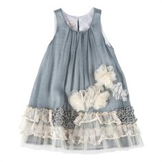 Isobella & Chloe Girls 4-6x Vicky Ruffled Shift Dress #VonMaur #IsobellaandChloe #Grey #Flower