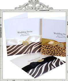 Animal print Wedding Invitations. Leopard print invitations, zebra print invitations £4.55