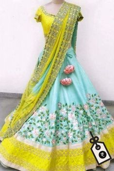 Turquoise Colour Banglori Silk Fabric Party Wear Lehenga Choli Comes with matching blouse. This Lehenga Choli Is crafted with Embroidery This Lehenga Choli Comes with Unstitched Blouse Which Can Be St. Lehenga Saree Design, Half Saree Lehenga, Lehnga Dress, Lehenga Choli Online, Ghagra Choli, Bridal Lehenga Choli, Silk Lehenga, Lehenga Designs, Saree Blouse Designs