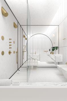Deze badkamer voelt oneindig - bijna alsof je je in buitenaardse kringen begeeft en zweeft tussen de meubels. De combinatie van gouden kranen en wit marmer maken jouw persoonlijke ruimtestationnetje tot zo'n luxe dat je je echt even van de wereld waant.  Behoefte aan meer inspiratie of advies op maat? Bezoek dan onze showroom in Leiden!  #goud #marmer #spiegel #infinity #inloopdouche #badkamer #inspiratie #design #interieur #badkamerinspiratie #showroom #leiden House Tours, Showroom, Bedroom Decor, Bathtub, Mirror, Furniture, Gatsby, Villas, Bathrooms