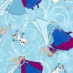 "Springs Creative Frozen Anna Elsa Little Girls Smock Top Dress Fabric BTY x 21/""w"