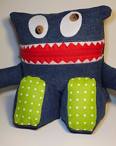 pajama eater from a pair of old jeans - Like the idea of jeans instead of buying new fabric!