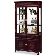 40in Rosewood Longevity Motif China Cabinet - A grand curio cabinet to display your treasured collectibles. Hand carved longevity emblems decorated the entire cabinet. Made of solid rosewood with traditional joinery techniques by artisans in China.