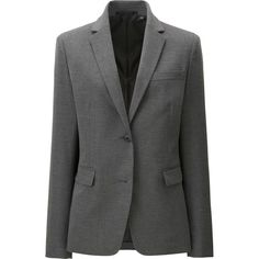 UNIQLO Women's Stretch Tailored Jacket (22.165 HUF) via Polyvore featuring outerwear, jackets, grey, tailored jacket, striped jacket, uniqlo, collar jacket and stripe jacket