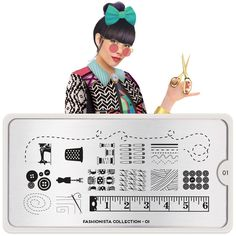 Meet Coco! Mix & match. Gather Inspiration, patterns and crafty ideas. Fashion is a way for us to play with the world and rearrange it to our liking.    ● MoYou-London Fashionista01 includes 18 different designs, each measuring 1.2 x 1.5cm.      ● The stainless steel plate measures 6.5 x 12.5cm and have a vinyl backing for increased ease of use.   ● Each plate comes in its own branded protective sleeve.    ● The designs are engraved on to the image plate and covered with a prot...