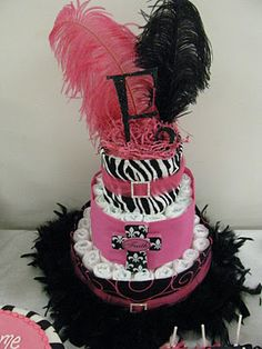zebra diaper cake with bling and feathers!