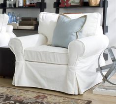 PB Basic Slipcovered Armchair - Brushed Canvas | Pottery Barn