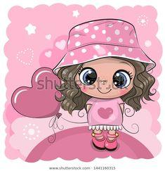 Cartoon girl with pink balloon. Greeting card Cute Cartoon girl with pink balloon stock illustration Cartoon Cartoon, Cute Cartoon Girl, Cute Love Cartoons, Disney Drawings, Cute Drawings, Panda Decorations, Sailor Costumes, Pink Balloons, Fantasy Paintings