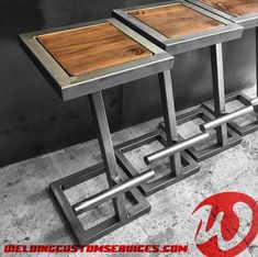 Custom steel and wood bar stool, Welded Furniture, Iron Furniture, Steel Furniture, Industrial Furniture, Furniture Design, Coffee Table Metal Frame, Steel Coffee Table, Wood Bar Stools, Modern Bar Stools