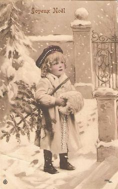 antique vintage post card christmas printable picture decor