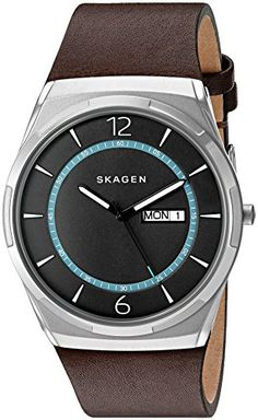 Skagen Men's 'Melbye' Quartz Stainless Steel and Leather Automatic Watch…