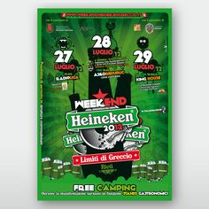 Weekend Heineken Greccio  Progettazione immagine identificativa e declinazioni sui vari supporti, poster 6×3, 70×100, gadget, ecc… del festival musicale Weekend Heineken Greccio. E' stato realizzato inoltre il sito web della manifestazione.  Rieti   Mirko Cianca   Grafica