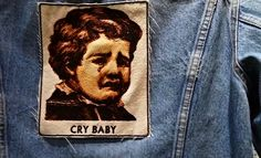 Embroidered Vintage Graphic Cry Baby Upcycled Canvas Jacket Patch by Authenticembroidery on Etsy