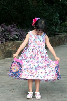 Peaches and Bees: Peacock Sally Dress for Little Momo