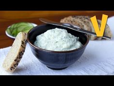 Vegan Tzatziki. INGREDIENTS: soy yogurt, cucumber, clove garlic, cider vinegar, black pepper, salt
