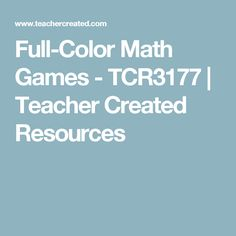 Full-Color Math Games - TCR3177 | Teacher Created Resources