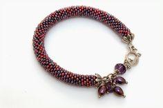 Beaded crochet bracelet. Czech seed beads. 11.0 Dark red, purple colours