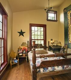 Perfect Color Mocha And Brick Red On The Walls Window Trim In This Primitive Style Bedroom These Are My Colors For Living Room I Need To Paint