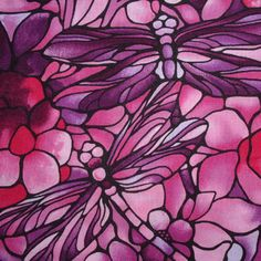FF Twilight Garden Dragonfly Pink Rose 1/2 METRE - view 2