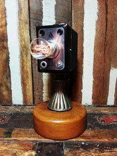 One-of-a-kind Upcycled Repurposed Vintage Tower Model 7 Box Camera Steampunk Style Art Table Lamp w/Edison Style Filament Night Light Bulb