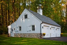 Love the large barn style shutters for garage, change garage doors to same color as front door on house
