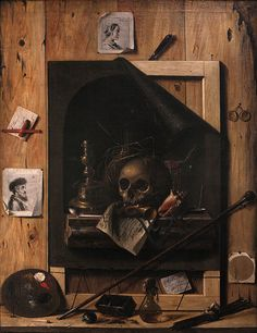 Vanity and trompe-l'œil, by Jean-François de Le Motte. Second half of the century. Oil on canvas On display at Dijon fine arts museum, ref. Memento Mori, Illusion, Vanitas Vanitatum, Kunsthistorisches Museum, Dance Of Death, Old Paintings, Museum Of Fine Arts, Macabre, Artist Art