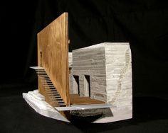 (cast rockite, wood, alumnium) Maquette Architecture, Concept Models Architecture, Wood Architecture, Religious Architecture, Architecture Drawings, Architecture Details, 3d Modelle, Arch Model, Roof Design
