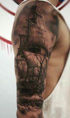 2017 trend Tattoo Trends - Boat full leeve tattoo for men - 100 Boat Tattoo Designs ♥ ♥. Pirate Tattoo, Pirate Ship Tattoos, Ship Tattoo Sleeves, Full Sleeve Tattoos, Tattoo Ship, Tattoo Man, Tiny Tattoo, Arm Tattoo, Small Tattoos