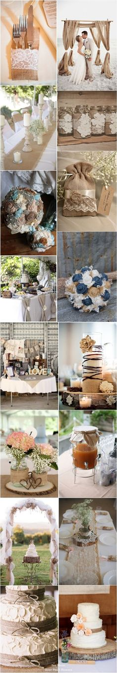 50+ rustic wedding ideas- burlap and lace wedding ideas / http://www.deerpearlflowers.com/50-chic-rustic-burlap-and-lace-wedding-ideas/