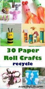 Creative Paper Roll Crafts - Recycle Reuse Kids Craft - A Crafty Life #kiscraft #preschool #craftsforkids