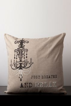 Breathe & Relax, cool idea to print a chandelier on a pillow...  or a chair seat...  or