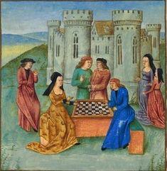 Un hombre y una mujer jugando al ajedrez en un tablero de 10x8 a cuadros. El juego se juega en el lado largo, que se muestra por la posición de la junta entre los dos jugadores. Jacques de Cessoles