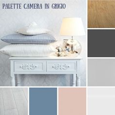 Come ti arredo #4: arredare la camera da letto in grigio - Easy Relooking Colour Pallete, Color Palettes, Floating Nightstand, Home And Living, Mattress, Ottoman, Curtains, Chair, Table