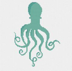 modern cross stitch pattern retro octopus ocean sea life