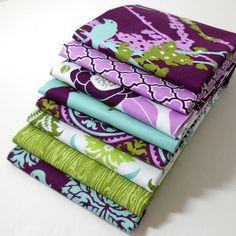 Joel Dewberry Fabric Bundle Aviary2 for Free Spirit - Lilac Palette Fat Quarter Bundle - 8 Fat Quarters
