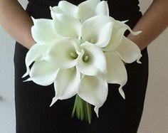 Bianco Calla Lily Bouquet da sposa con Calla Lily Boutonniere-Real Touch Calla Lily Bouquet-Bridesmaid Bouquet-Silk Flower Wedding Bouquet
