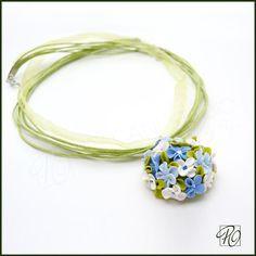 Polymer Clay Necklace Blue  Polymer Clay Jewelry by PolganiStudio, $32.00