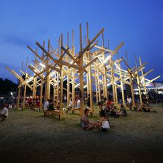 """Atelier YokYok, in partnership with Sammode, created a temporary geometric forest called """"TREEDOM"""" for the 2015 Sziget Festival in Budapest...."""