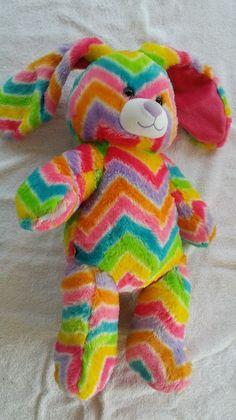 Build A Bear Workshop RAINBOW stripes multi-color Bunny RABBIT stuffed plush BAB…