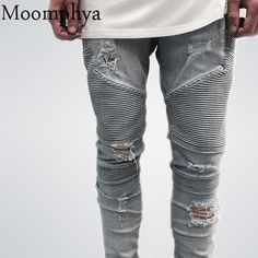 45df8f6c42 2017 hip-hop Men Jeans masculina Casual Denim distressed Men s Slim Jeans  pants Brand Biker