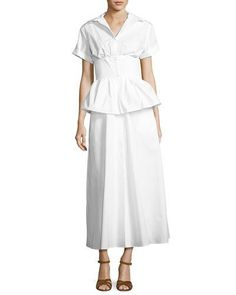 B3QYR Rosie Assoulin Short-Sleeve Poplin Shirtdress, White