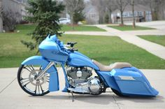 "2007 Road Glide: AF Kustoms Raked Neck, Fairing mount & Hidden Bracket: HHI 9 deg Trees; 26"" PM Icon Front w/ Matching 13"" Rotor; 6 piston HHI Caliper; American Susp. legs; Native Bagger boots & Front Air Ride; Misfit Push Button Ignition, D-Bomb Air Tank; Dirty Bird windshield, headlight bezel, chin spoiler, tank w/dash, molded into top shelf bag side panels, rear fender, license plate frame; Klockwerks turn signal eliminator; Native Front Fender; Ballistic Relaxer Bars"