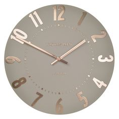 The Thomas Kent Mulberry Rose Gold Wall Clock is a splendid modern clock that's perfectly proportioned. Hand painted in warm taupe tone with contrasting ro Rose Gold Room Decor, Rose Gold Rooms, Room Decor Bedroom Rose Gold, Wall Clocks Uk, Unique Wall Clocks, Large Wall Clocks, Wall Clock Decor, Office Wall Clock, Wall Clock Numbers