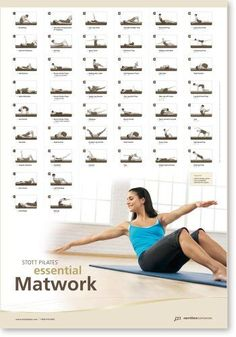 This poster-size chart outlines the full repertoire for the STOTT PILATES® Essential Matwork. Each exercise is illustrated with the suggested number of repetitions. Pilates Matwork, Pilates Studio, Pilates Reformer, Pilates Workout, Workouts, Beginner Pilates, Fitness Planner, Fitness Tips, Health Fitness