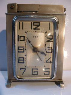 SUPERB RARE ART DECO 1930s DEP ALARM CLOCK and PETROL LIGHTER - MADE IN FRANCE